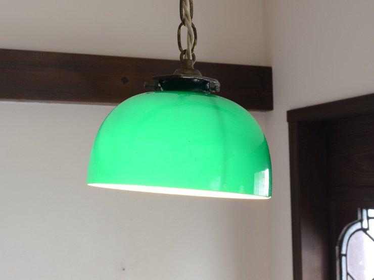 アンティーク グリーンガラス ペンダントランプ
