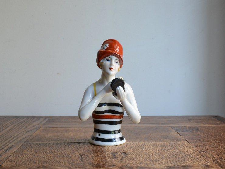 ハーフドール 陶器オブジェ(お化粧)