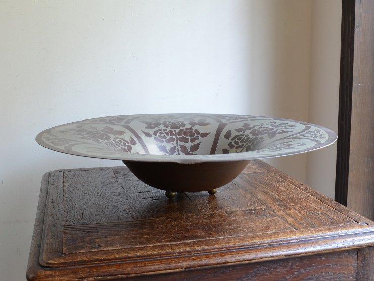 アンティーク ローズ柄 コッパープレート (盛り皿)