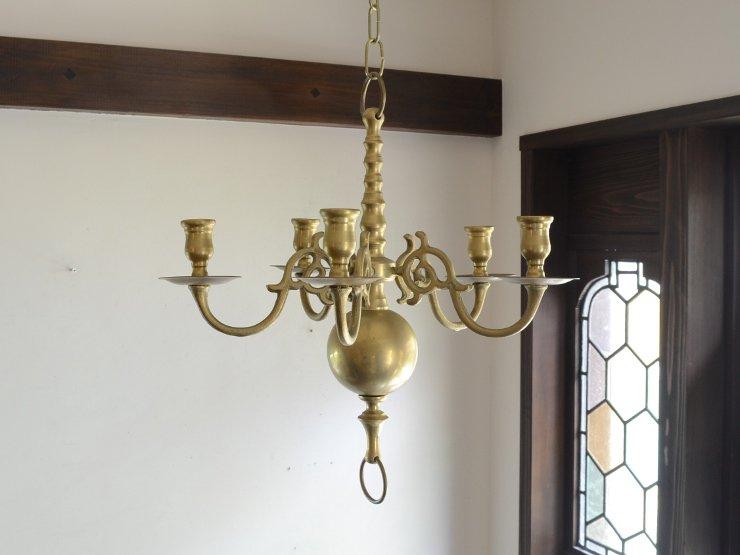 5灯シャンデリア型 真鍮キャンドルホルダー