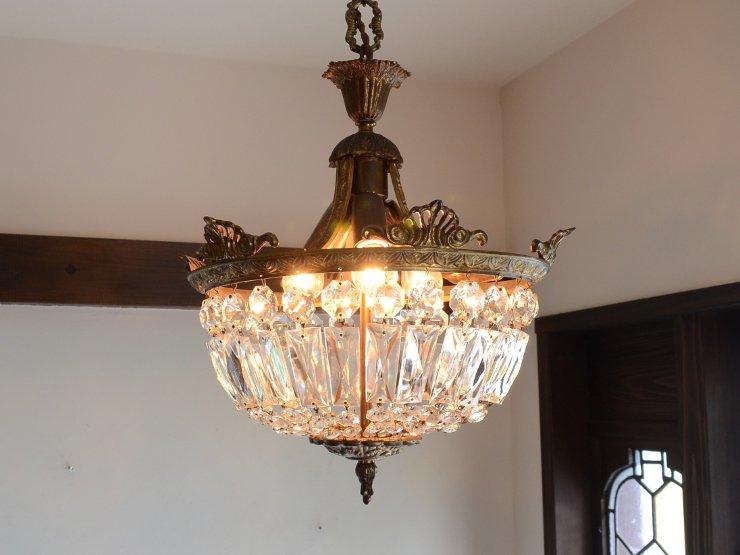 アンティーク クリスタルガラス 3灯ペンダントランプ