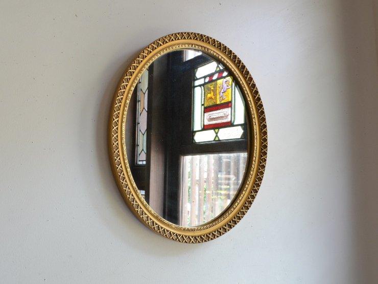 ヴィンテージ ゴールド丸型 壁掛けミラー (H34cm)