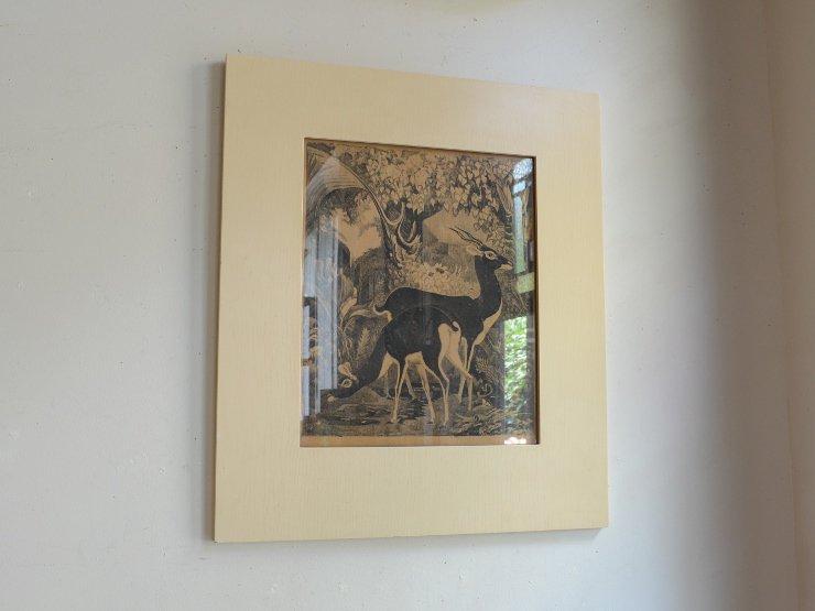 ヴィンテージ 木製フレーム ウォールデコレーション (版画)