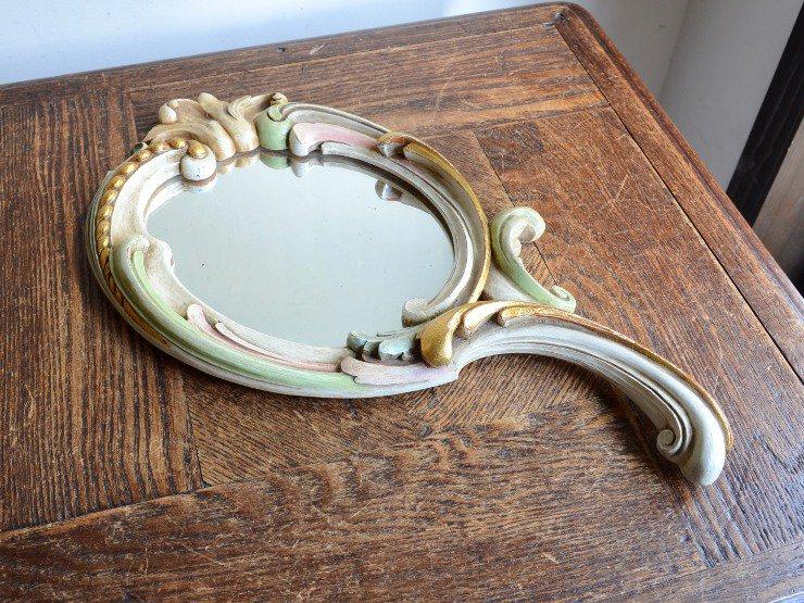 ヴィンテージ 木製ミラー(手鏡)