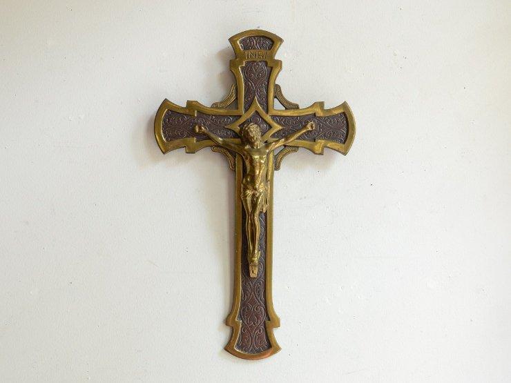 真鍮クロス(十字架)ウォールデコレーション(H30cm)