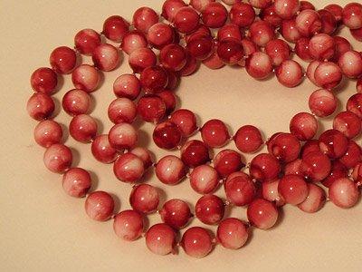 ビーズネックレス(赤×白マーブル)