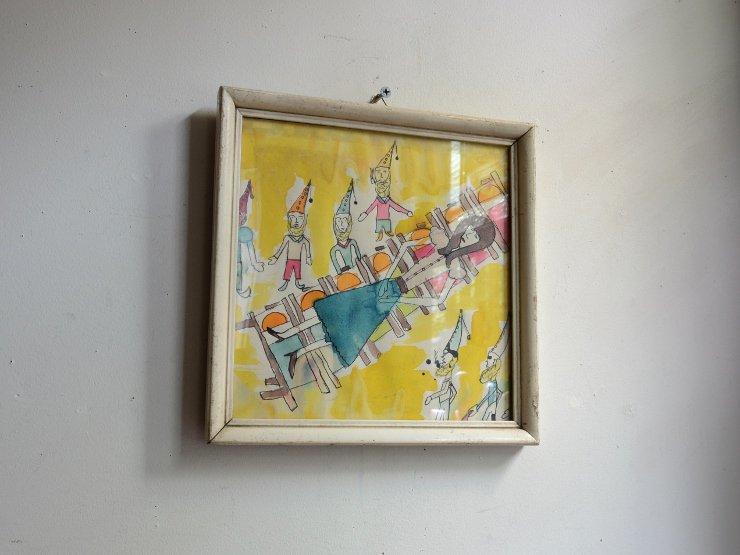 ヴィンテージ木製フレーム ウォールデコレーション (絵画)