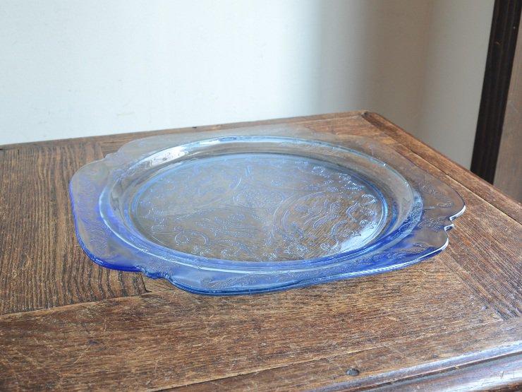 アンティーク ブルーガラスプレート