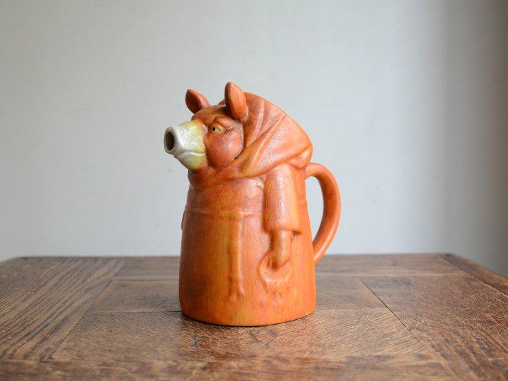 ブタさんモチーフ 陶器ポット(フラワーベース)