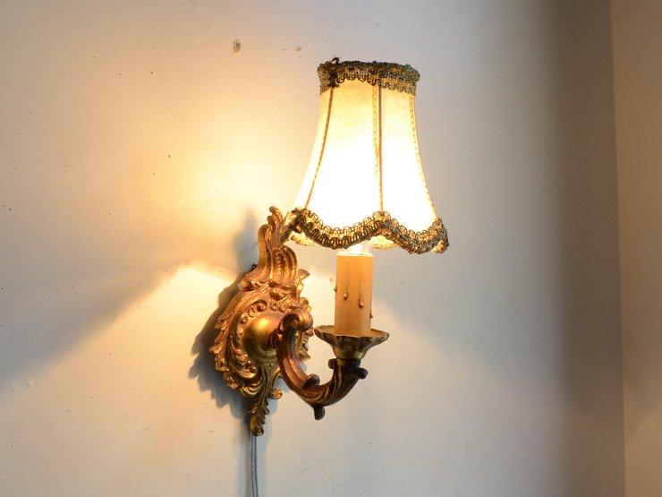 レザーシェード付き 真鍮1灯ウォールランプ