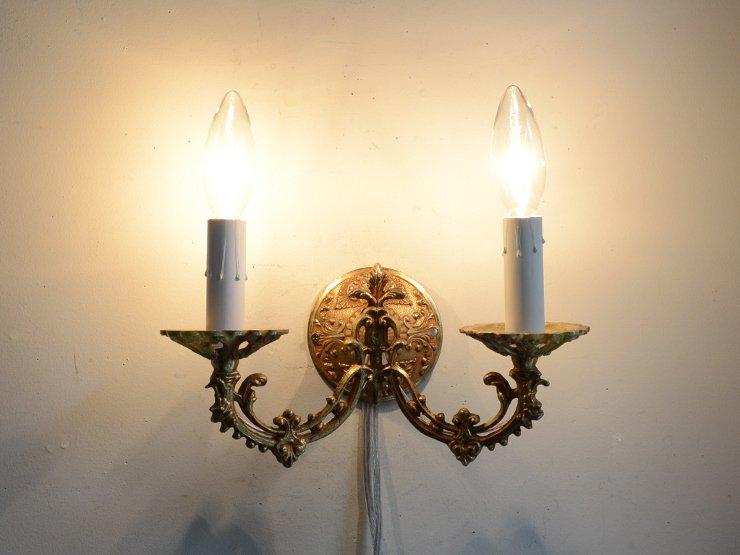アンティーク 真鍮2灯ウォールランプ