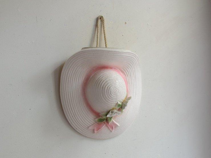 ヴィンテージ 帽子モチーフ陶器フラワーベース