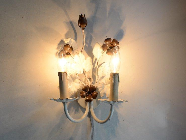ヴィンテージ フラワーモチーフ 2灯ウォールランプ