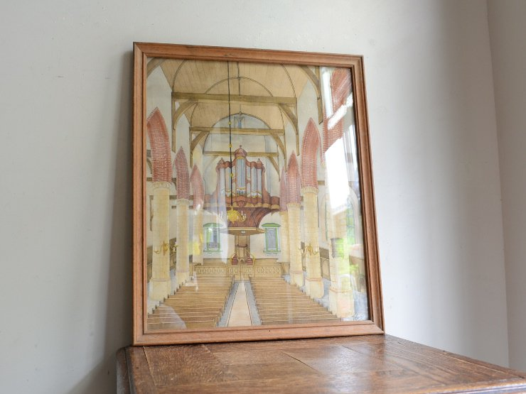 アンティーク木製フレーム ウォールデコレーション (絵画)