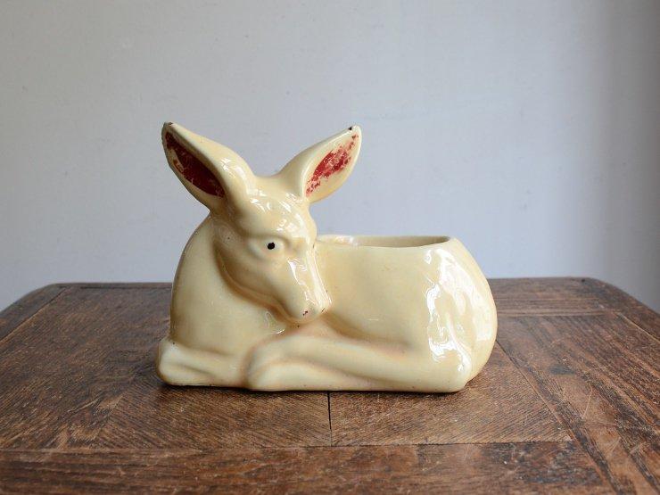ヴィンテージ 鹿モチーフ 陶器フラワーベース