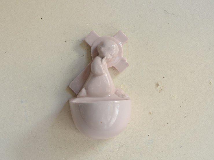天使モチーフ 陶器ウォールデコレーション(聖水盤)