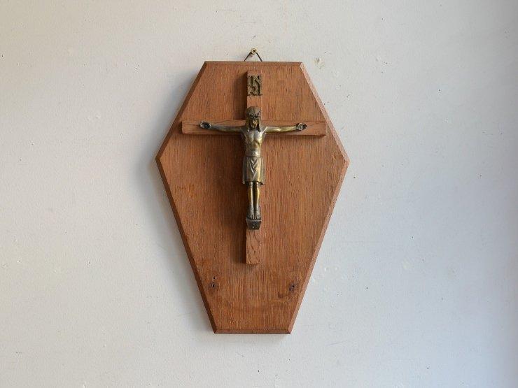 アンティーク木製クロス ウォールデコレーション(H27.5cm)