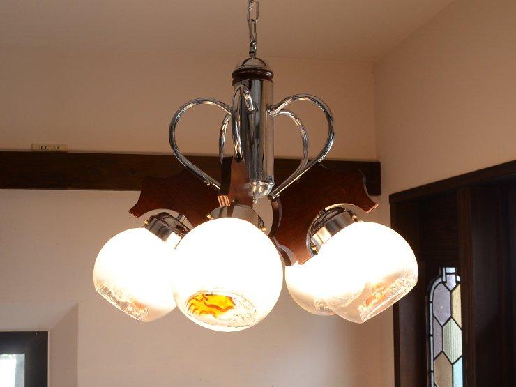 ヴィンテージデザイン ガラス5灯シャンデリア