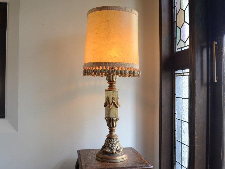ヴィンテージ シェード付き 木製テーブルランプ(H92cm)