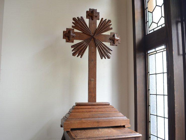 アンティーク 木製クロス(十字架)オブジェ(H89cm)