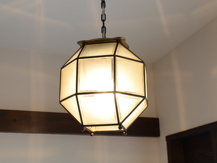アンティーク多面ガラス 真鍮ペンダントランプ