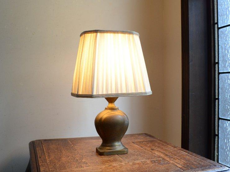 プリーツシェード付 真鍮テーブルランプ(H31cm)