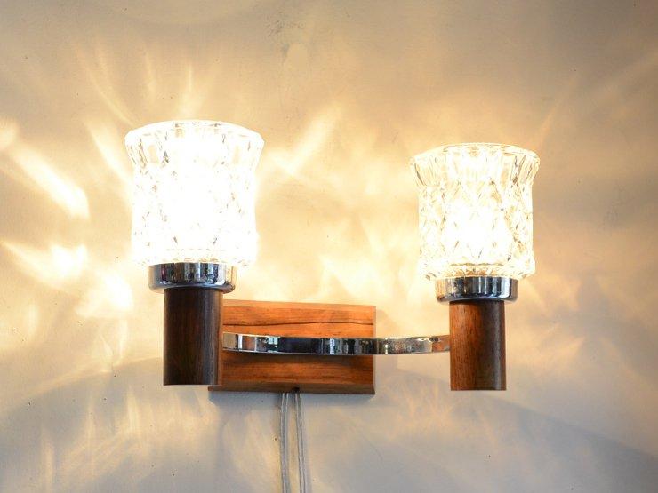 ヴィンテージ ガラスシェード 2灯ウォールランプ