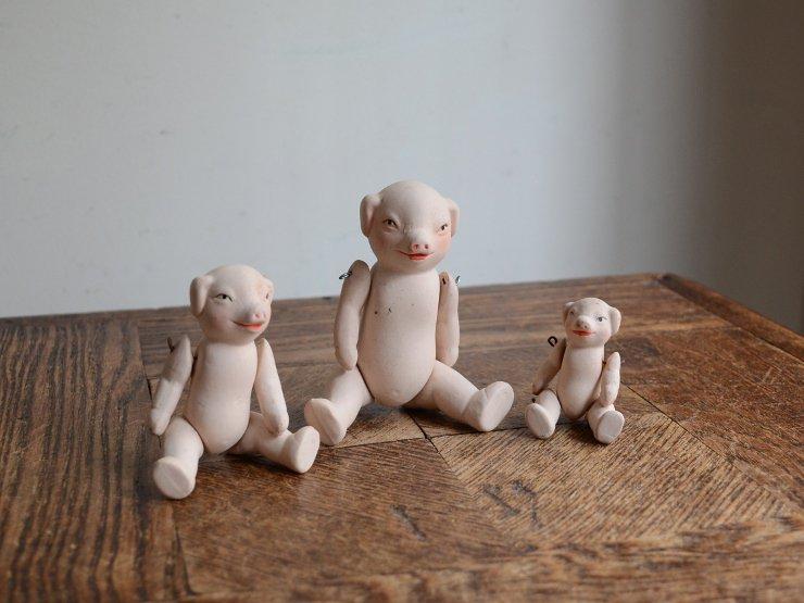 3匹の子豚 陶器ドール オブジェ