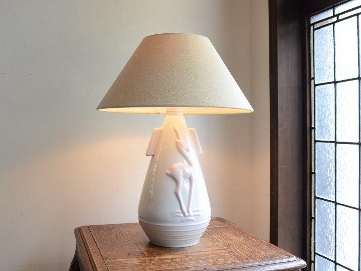 ヴィンテージ シェード付き陶器 テーブルランプ (H46cm)