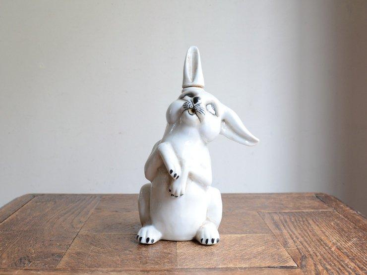 ウサギの陶器ポット (フラワーベース)