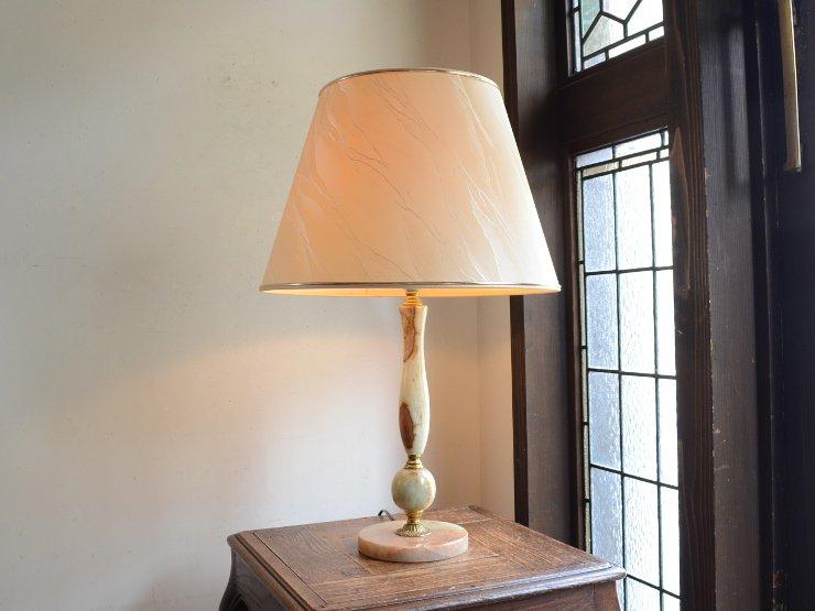 ヴィンテージ シェード付マーブルテーブルランプ(H63cm)