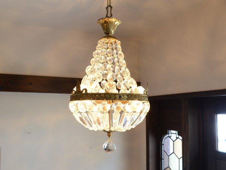クリスタルガラス エンパイア型3灯ペンダントランプ