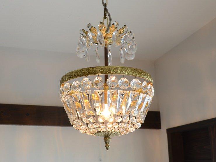 アンティーク クリスタルガラス ペンダントランプ