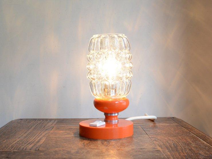 ヴィンテージ バブルガラスシェード テーブルランプ(H18.5cm)