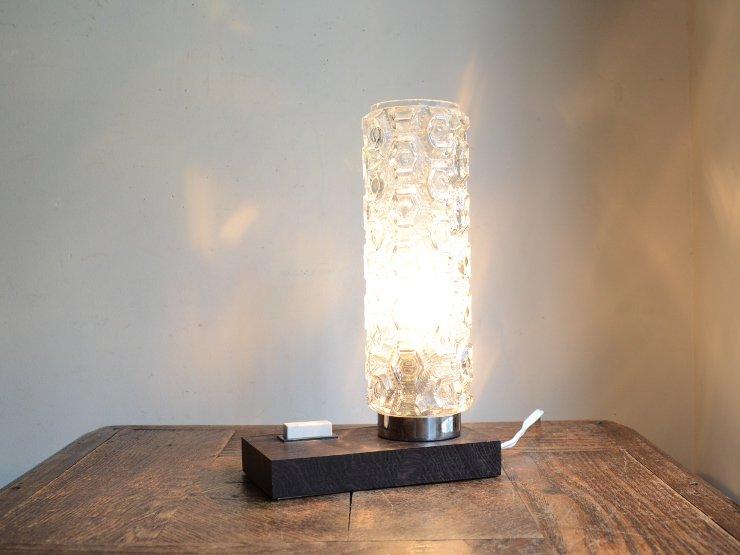 ヴィンテージ ガラスシェード付 木製テーブルランプ(H22cm)