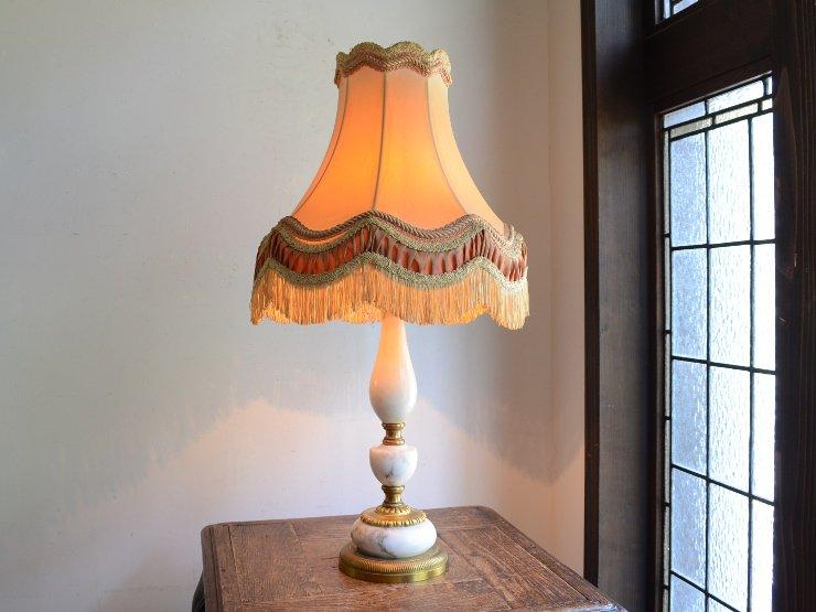 アンティーク シェード付 マーブル テーブルランプ(H60cm)