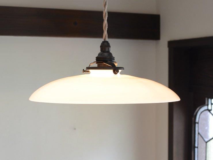 アンティーク ミルクガラスペンダントランプ