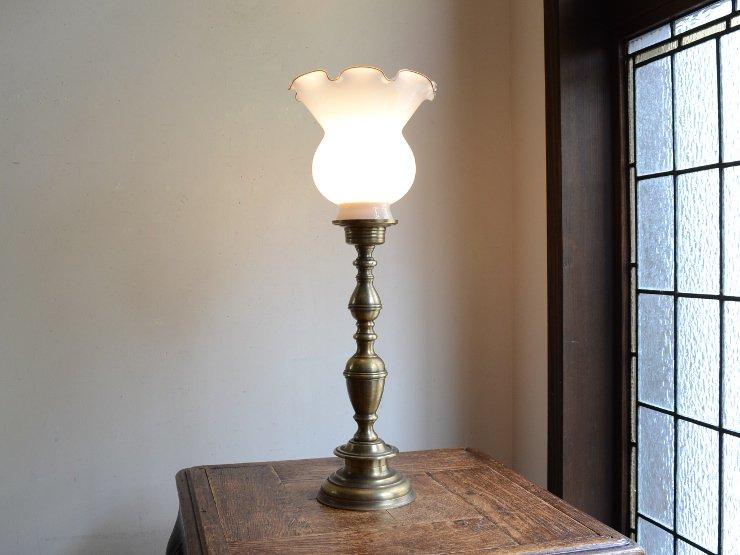 ヴィンテージ ガラスシェード 真鍮テーブルランプ(H46.5cm)