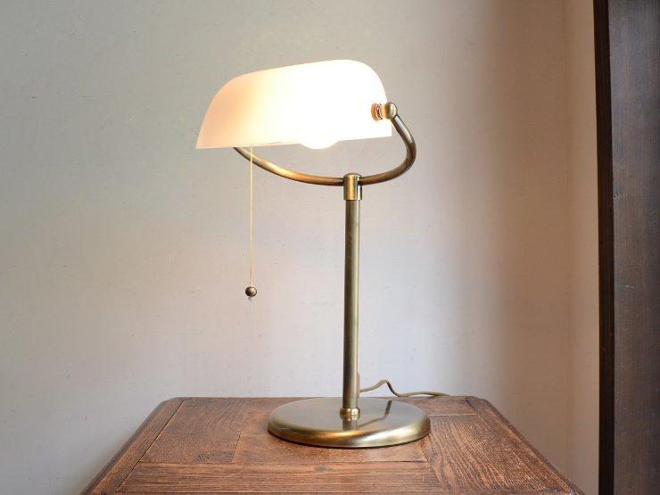 ミルクガラスシェード付 真鍮テーブルランプ(H37cm)