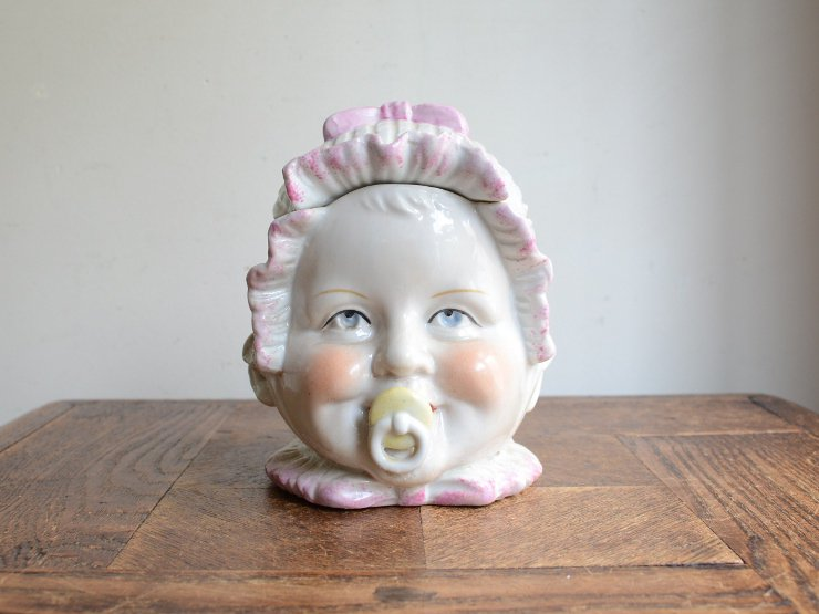 赤ちゃんモチーフ 蓋付き陶器 ポット