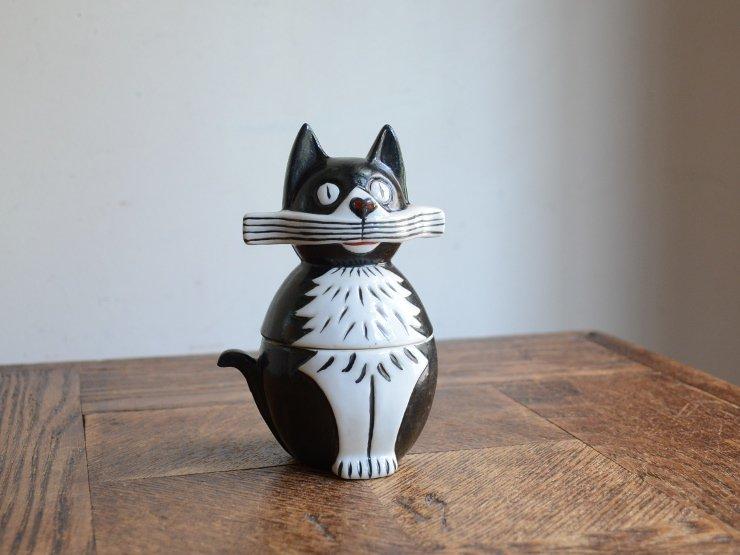 [new] 黒猫モチーフ 蓋付き陶器 ポット
