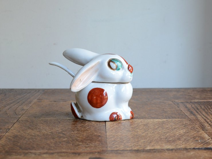 うさぎ 陶器ポット オブジェ
