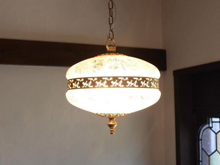 [new] 模様入りガラス 2灯ペンダントランプ