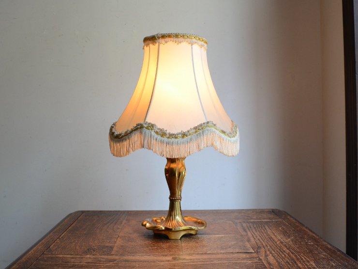 アンティーク フリンジシェード 真鍮テーブルランプ(H29cm)