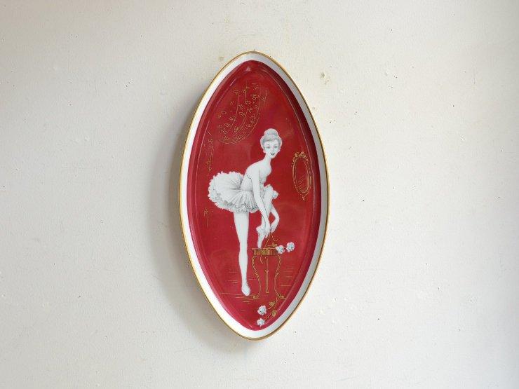 ヴィンテージ バレリーナモチーフ 陶器プレート