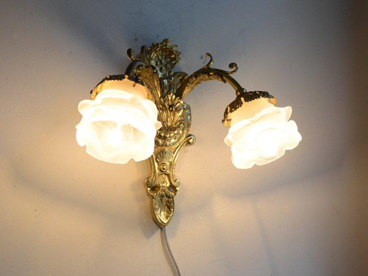 アンティーク ローズガラス 2灯ウォールランプ