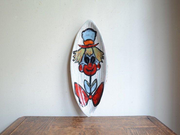 ヴィンテージ ピエロモチーフ陶器プレート