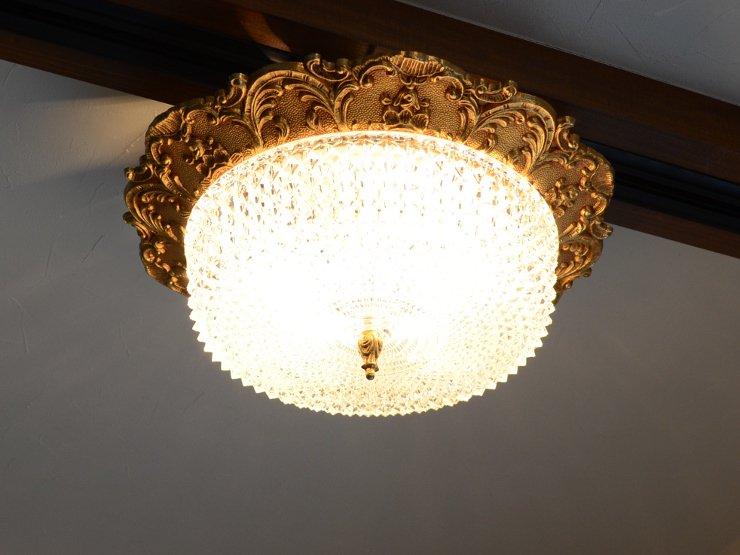 カットガラス 2灯式 真鍮ランプ(天井照明)※直付専用