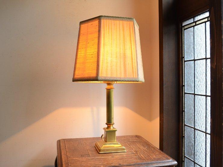[new] ヴィンテージ シェード付き 真鍮テーブルランプ(H53cm)