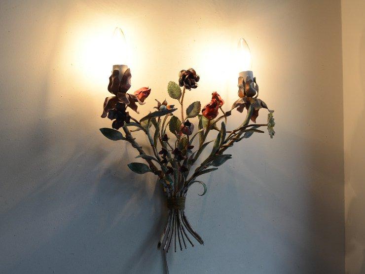 アンティーク フラワーブーケ2灯ウォールランプ